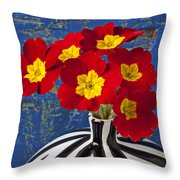 Red And Yellow Primrose Throw Pillow