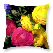 Red And Yellow Ranunculus Flowers Throw Pillow
