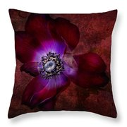 Red Anemone Throw Pillow