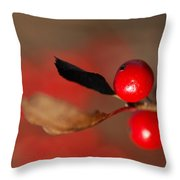 Red As A Winterberry Throw Pillow