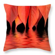 Red Autumn Leaves In Water Throw Pillow