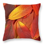 Red Autumn Leaves Pile Throw Pillow
