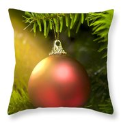 Red Ball In A Real Caucasian Fir Christmas Tree Throw Pillow