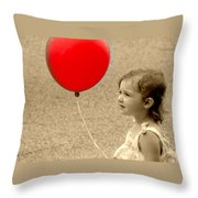 Red Baloon Throw Pillow
