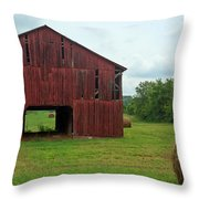 Red Barn And Hay Bales 3 Throw Pillow