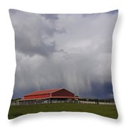 Red Barn And Stormy Sky Throw Pillow