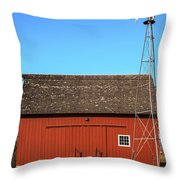 Red Barn And Windmill Throw Pillow