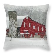 Red Barn In Heavy Snow Throw Pillow