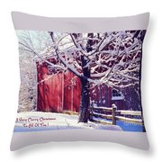 Red Barn In The Winter Connecticut Usa Throw Pillow