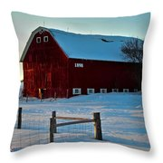 Red Barn In Winter ... Throw Pillow