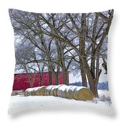 Red Barn In Winter With Hay Bales Throw Pillow