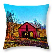 Red Barn On A Hillside Throw Pillow