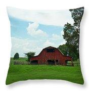 Red Barn On The Horizon Throw Pillow