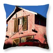Red Barn Red Car Throw Pillow