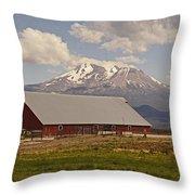 Red Barn Under Mount Shasta Throw Pillow