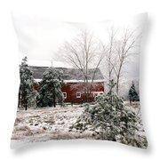 Michigan Red Barn Winter Scene Snow Landscape Throw Pillow