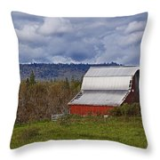 Red Barn With Tin Roof Throw Pillow
