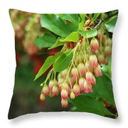 Red Bell Flowers 3 Throw Pillow