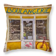 Red Bike At The Boulangerie Throw Pillow