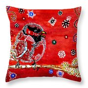 Red Bird On A Branch Throw Pillow