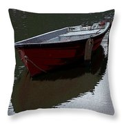 Red Boat In A Canal In The Netherlands Throw Pillow