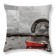 Red Boat In The Harbor At Vernazza Throw Pillow