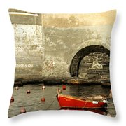Red Boat In Vernazza Harbor On The Cinque Terre Throw Pillow