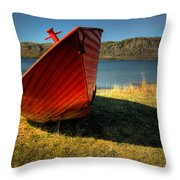 Red Boat Throw Pillow