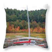 Red Boat Reflection Throw Pillow