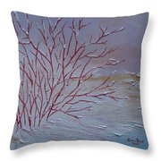 Red Branches Throw Pillow