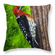 Red Breasted Sapsucker Throw Pillow