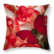 Red Butterfly On Blush Roses Throw Pillow