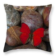 Red Butterfly On Rocks Throw Pillow