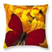 Red Butterfly On Yellow Gerbera Daisies  Throw Pillow