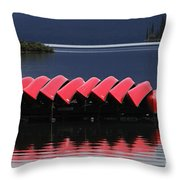 Red Canoes Maligne Lake Throw Pillow