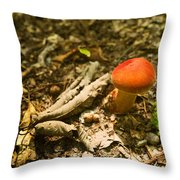 Red Caped Mushroom 1 Throw Pillow