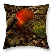 Red Caped Mushroom 4 Throw Pillow