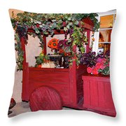 Red Cart Of Flowers Throw Pillow