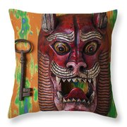 Red Cat Mask Throw Pillow
