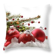 Red Christmas Balls In The Snow  Throw Pillow