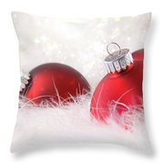 Red Christmas Balls In White Feathers  Throw Pillow