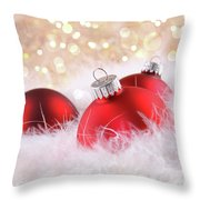 Red Christmas Balls With Abstract Background Throw Pillow