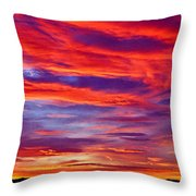 Red Clouds Dawn With Mount Rainier Throw Pillow