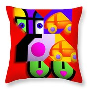 Red Collage Throw Pillow