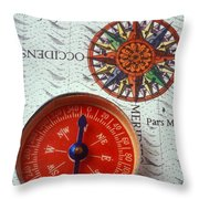 Red Compass And Rose Compass Throw Pillow