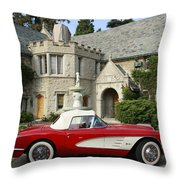 Red Corvette Outside The Playboy Mansion Throw Pillow