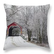 Red Covered Bridge In The Winter Throw Pillow