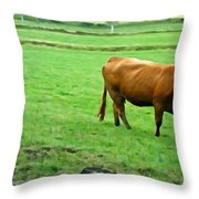 Red Cow Throw Pillow