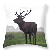 Red Deer Painting Throw Pillow