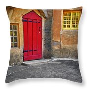 Red Door And Yellow Windows Throw Pillow